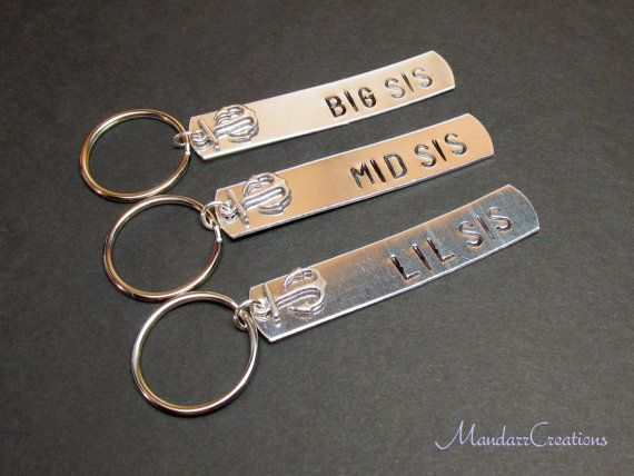 Keychains for Sisters Big Sis Mid Sis Lil Sis Anchor