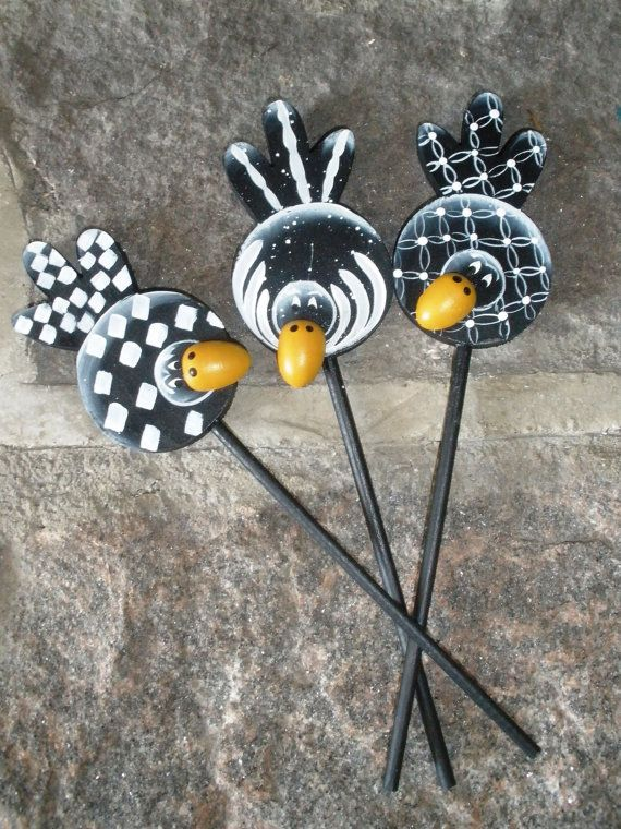3 Plant Spikes   Hand Painted Crows by LeeArt on Etsy
