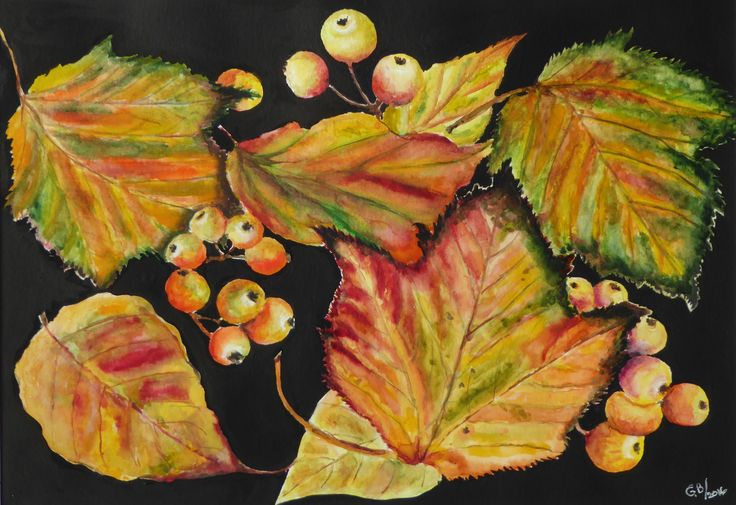 Autumn Leaves and Crab Apple; mixed media by Gorica Bulcock