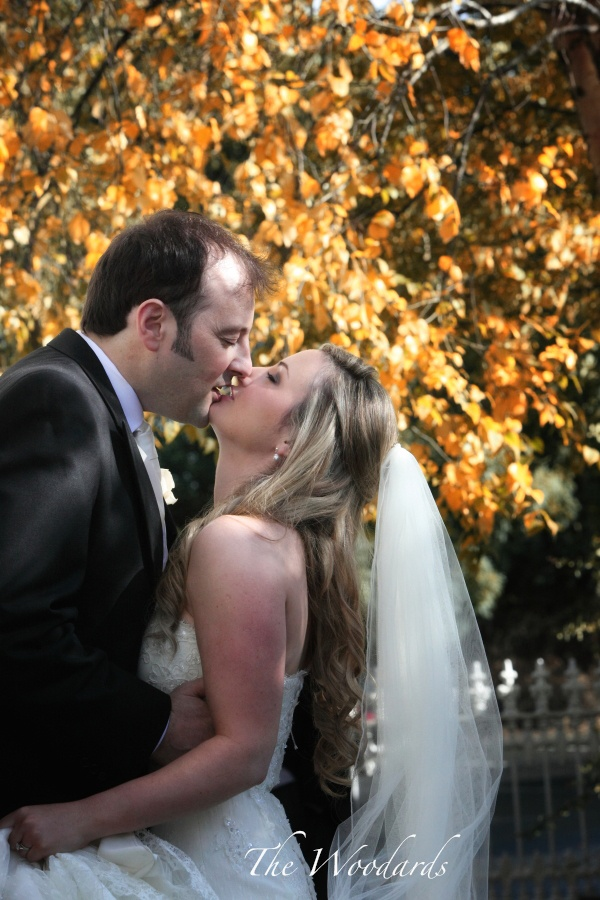 Wedding at Dromoland Castle  Autumn Colours, beautiful light, couple in love! Image by Woodard Photography