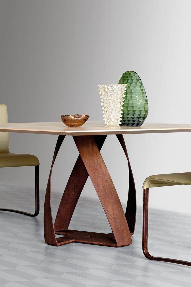 table bois acier corten à pieds torsadés- Bon bon par Potocco                                                                                                                                                     More