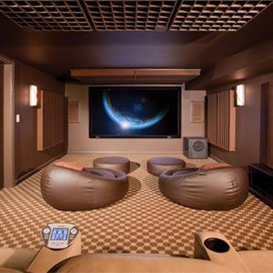 Home theater overcomes low ceiling that is just seven feet high. So where was the projector hung?