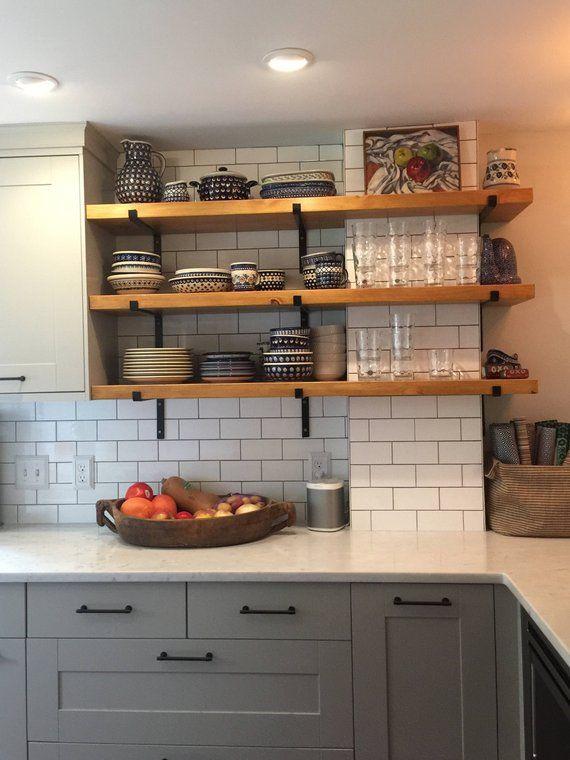 Open Shelving Brackets Iron Shelf Bracket Black Steel And Etsy Kitchen Renovation Kitchen Remodel New Kitchen