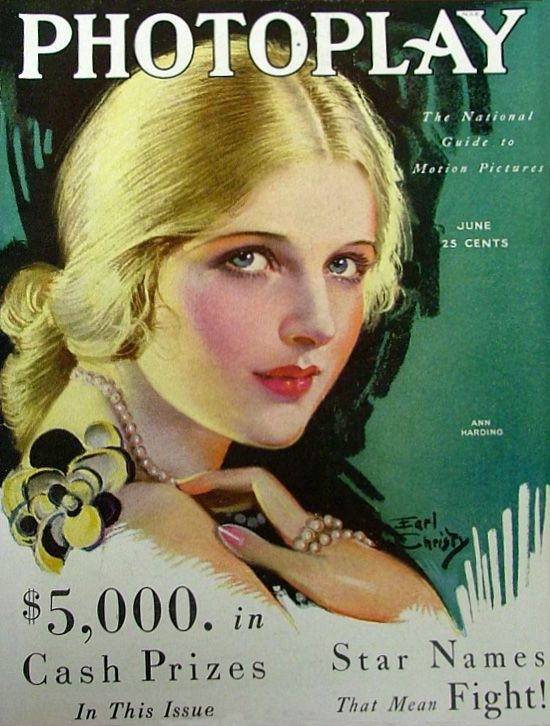 Ann Harding - Cover Art by Earl Christy - Photoplay - June 1930 -     (Source: studyincontrasts)