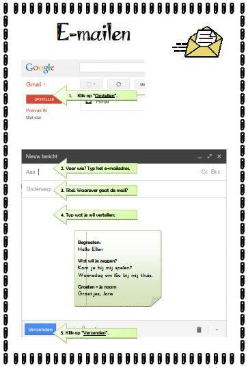 Met dit stappenplan kunnen leerlingen (eventueel na een instructie) zelfstandig aan de slag om een e-mail, al dan niet met bijlage, te versturen vanaf een gmail-adres.