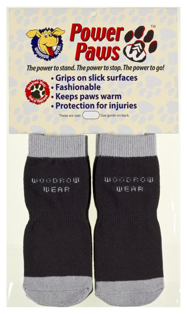 Power Paws Non-Slip Socks For Dogs in Black/Grey
