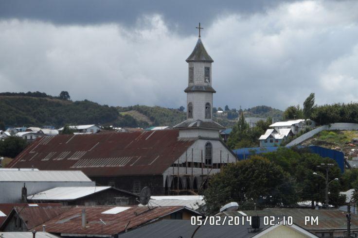 Iglesia de Dalcahue, vista desde la torre del mercado.