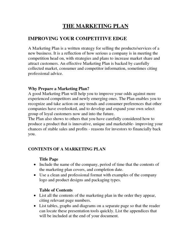 Example Of A Marketing Plan Marketing Plan Template Business