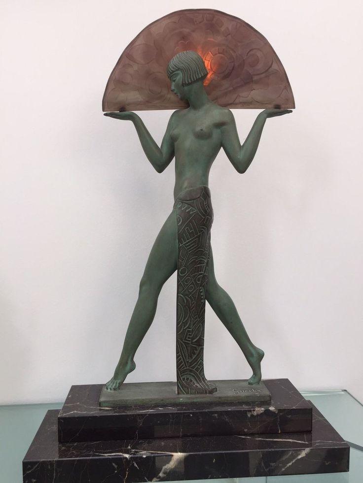 Raymond guerbe pierre le faguays art deco lamp espana - Art deco espana ...