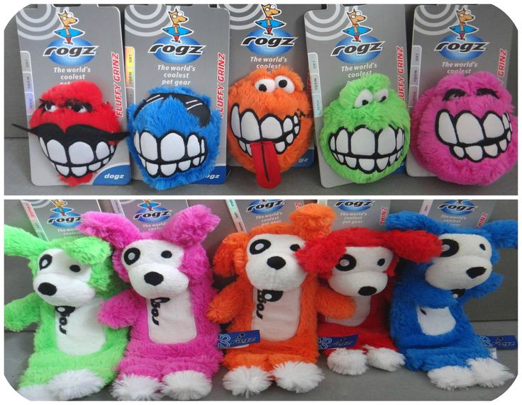 We love these brightly coloured ROGZ plush toys! Fluffy Grinz (top row) $14,99 each, Thinz $17.99 each