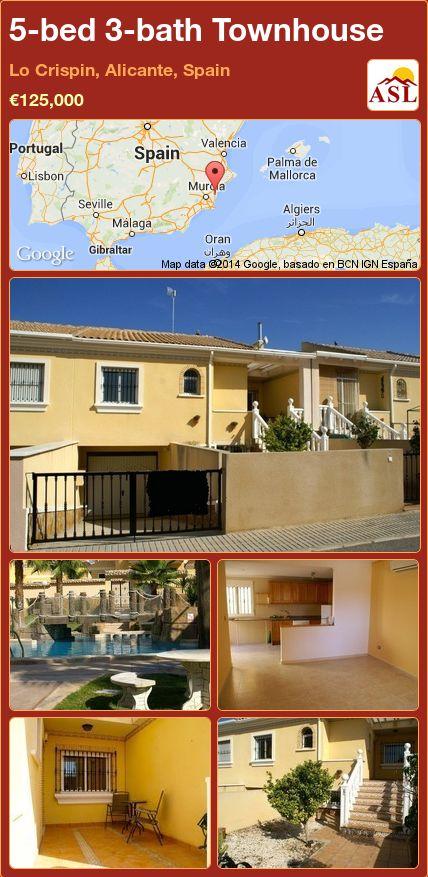 5-bed 3-bath Townhouse in Lo Crispin, Alicante, Spain ►€125,000 #PropertyForSaleInSpain