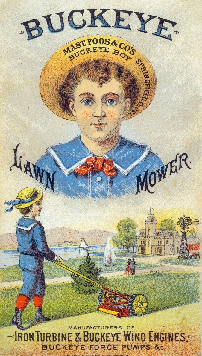 Buckeye Lawn Mower vintage advertising card. CAN STILL USE FOR BUCKEYE RECIPE.
