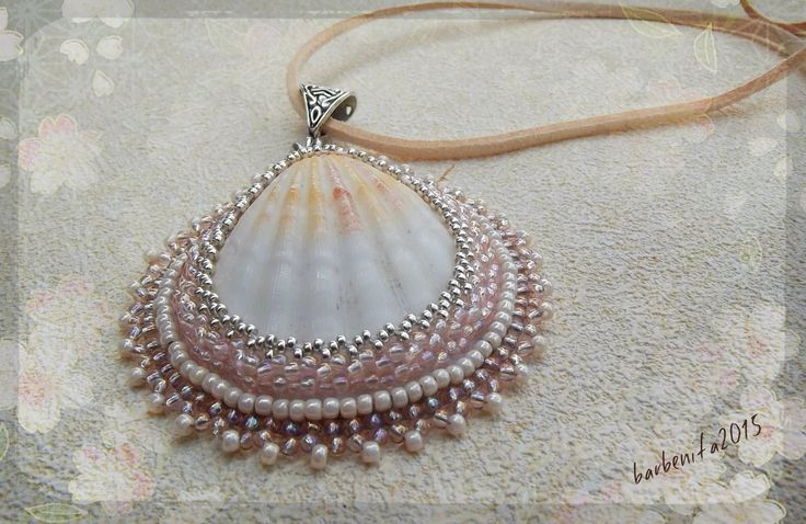 Bead embroidered shell pendant