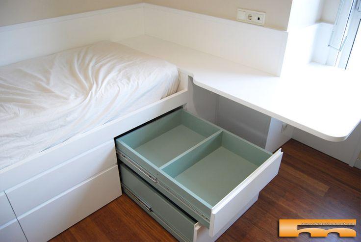 Habitacion 2 juvenil a medida cama cajones abierto lacada for Medidas cama juvenil