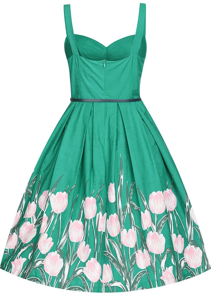 Lindy Bop Bernice Tulip Swing Jurk Turquoise