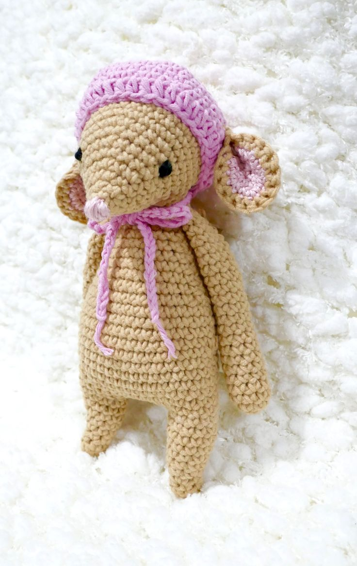 Excited to share the latest addition to my #etsy shop: READY TO SHIP, Crochet Mouse, Baby Girl Toy, Girl Mouse, Soft Toy, White Stork Creations