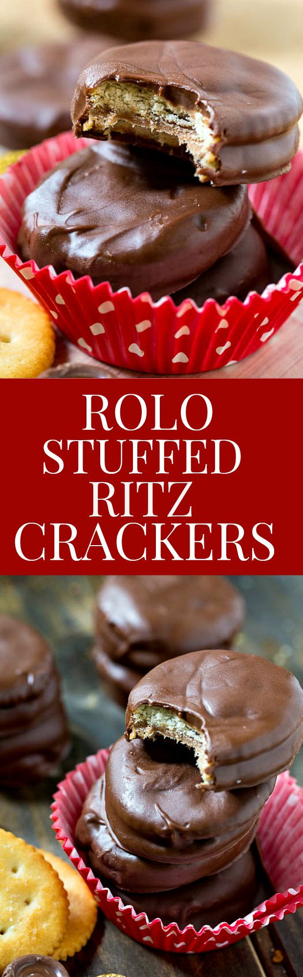 Rolo Stuffed Ritz Crackers - Covered in chocolate. The best sweet and salty treat!