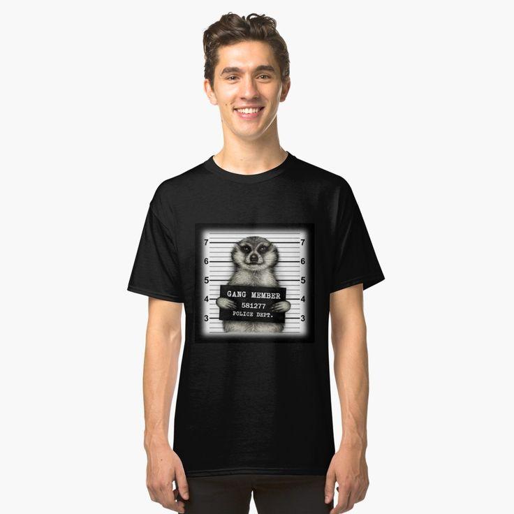 Meerkat mugshot black Classic T-Shirt Front