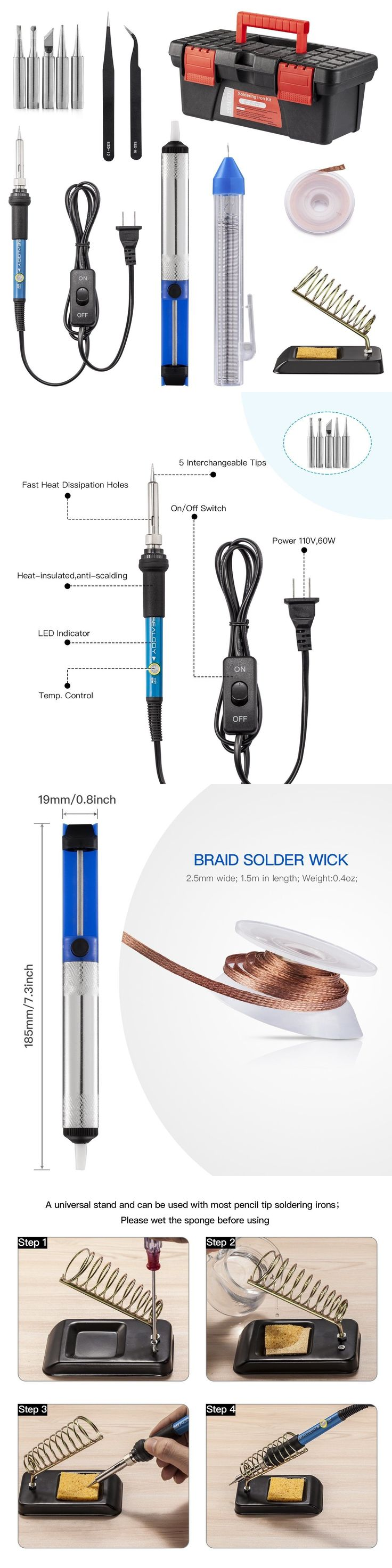 Welding and Soldering Tools 46413: Soldering Iron Kit Electric Welding Gun Solder Weller Tool Sucker Wick W Stand -> BUY IT NOW ONLY: $35.66 on eBay!