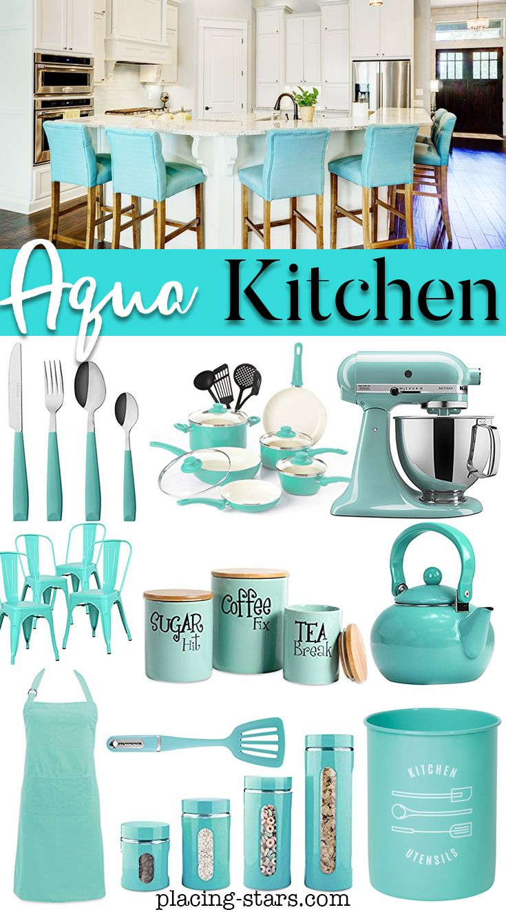 Aqua Kitchen in 8  Blue kitchen decor, Aqua kitchen, Kitchen