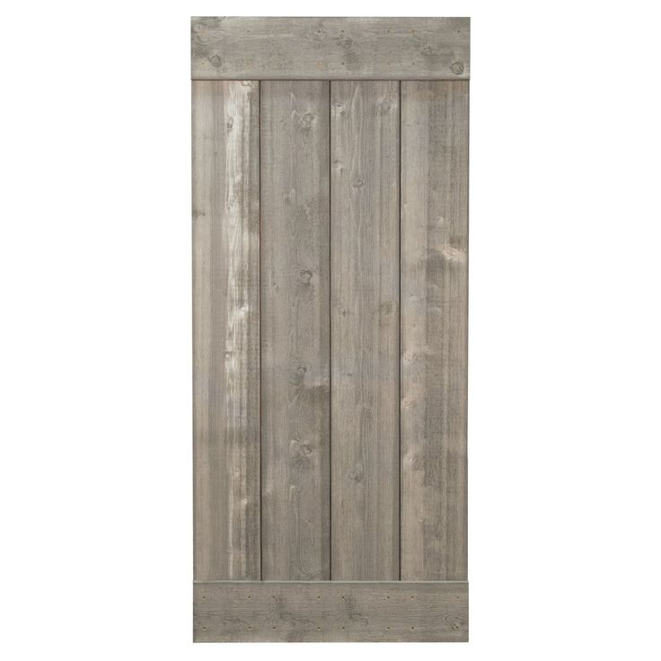Real carriage weathered plank barn door from hayneedle for Sliding carriage doors