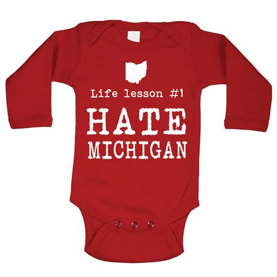 Life Lesson HATE Michigan cute infant funny State of Buckeyes Ohio football newborn gift jumper creeper - Baby ONE-PIECE Long Sleeve DT0753 on Etsy, $13.90