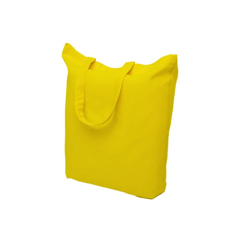Yellow cotton bag with short handle