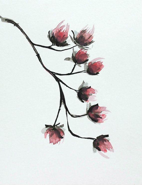 FLOWER - Original Ink art drawing on acid free paper Sennelier. Pink, black, grey, ink dark, ink wash, gestual, figurative art