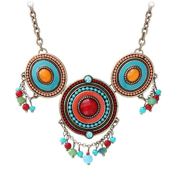 Fashion Necklace - Yaminah Bohemian Necklace With Round Colorful Resin Beads & Tassel