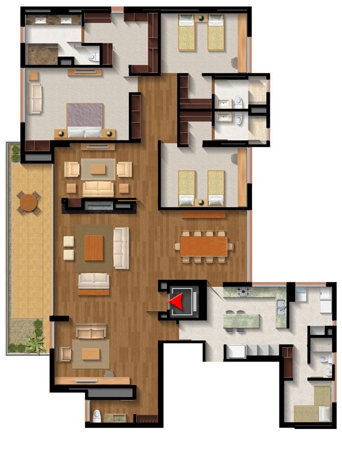 APTO TIPO 7: Área 278,94 m2 - Balcón: 26,91 m2 - Área Total: 305,85 m2