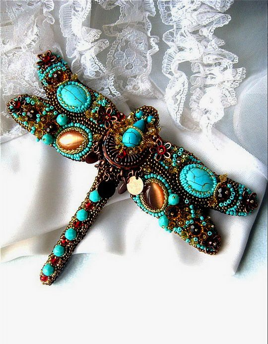 Agija Rezcova is talanted jewelry artist from Latvia. She makes amazing brooches, necklaces, bracelets and original womens ties. Usually she uses bead embroidery with different materials – beads, soutache, textile, gemstones, metal findings. Every her work is unique and special.
