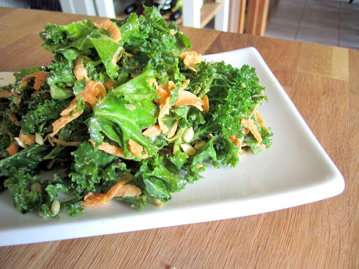 Kale salad with sweet almond and ginger dressing. A quick and packable salad
