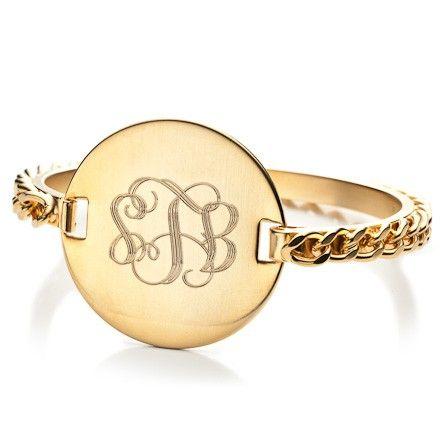 Monogramed gold bracelet