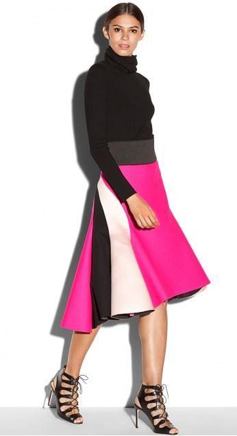 MILLY Bonded neoprene colorblock skirt