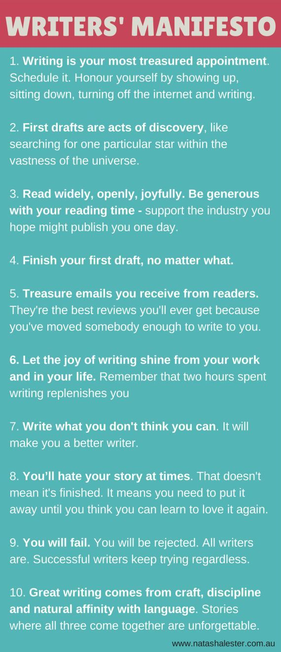 A Manifesto For Writers - to keep you motivated, inspired and enthusiastic about the act of writing. | http://www.natashalester.com.au