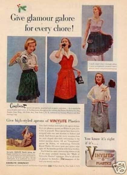 Vinylite Plastics Ad Plastic Aprons (1951)
