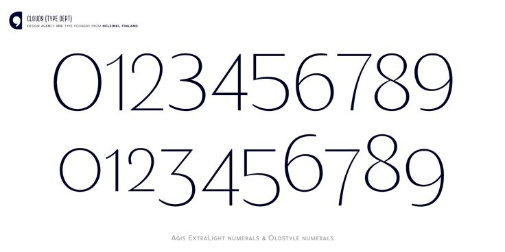 Agis ExtraLight numerals and Oldstyle numerals