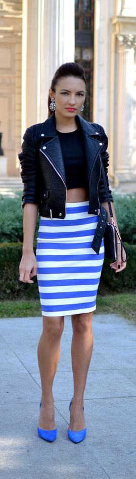 So many reasons why I love this outfit. The leather black the blue the highwaist skirt  crop top!!! N the pumps :) nicee