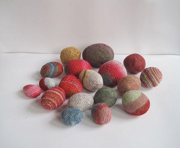 Untitled (rocks) by Emily Barletta (2010) thread, felt, and rocks, mixed sizes