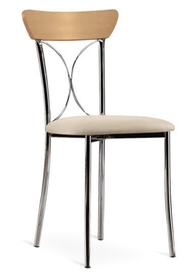 Sedia in metallo e legno con sedile in ecopelle