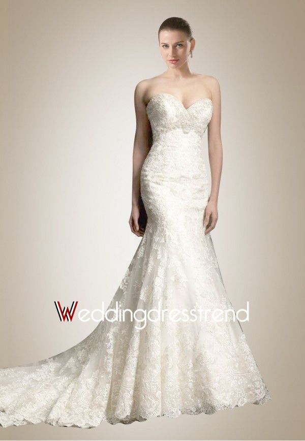Bewitching Strapless Mermaid Wedding Dress with Glittering Beaded Waistline and Delicate Applique