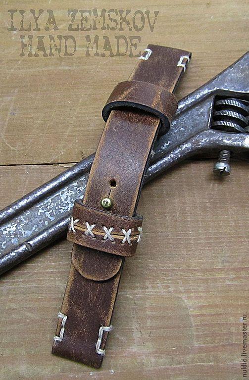 Купить Кожаный ремешок для часов - ремешок для часов, натуральная кожа, подарок мужчине, оригинальный подарок