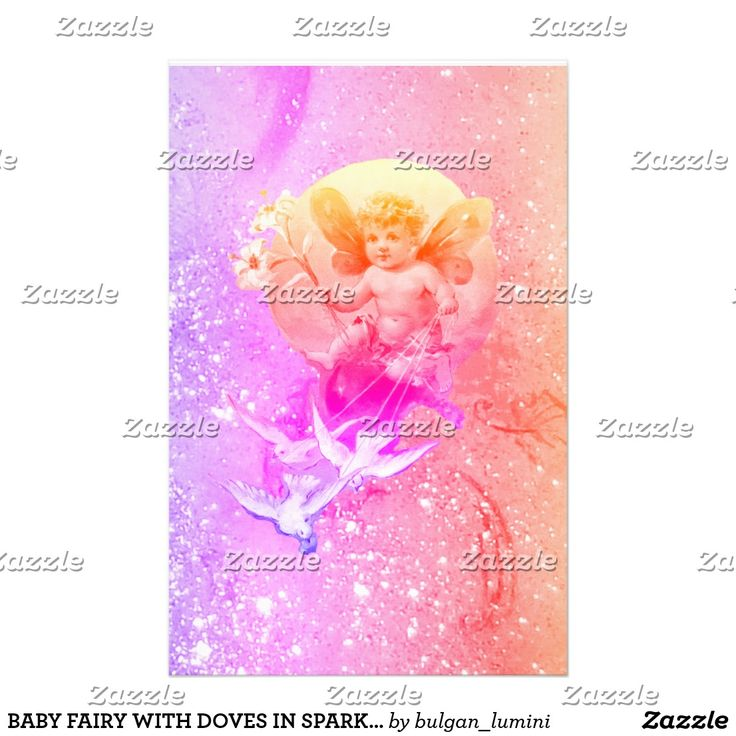 BABY FAIRY WITH DOVES PURPLE PINK SPARKLES Fantasy Stationery #babyshower #flowers #glitter #fairies #fairydust