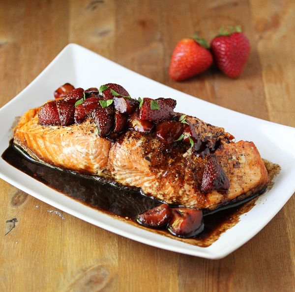Grilled Salmon with a Strawberry-Balsamic Reduction   Sweet Peas & Saffron