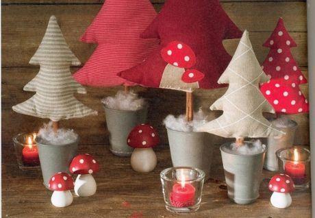 Árboles de Navidad en tela con plantilla