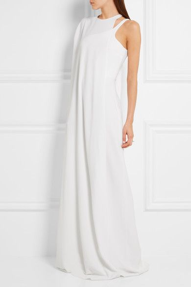 White stretch-cady Concealed hook fastening at shoulder, hook and zip fastening at side 64% viscose, 32% acetate, 4% elastane; lining: 100% silk Dry clean Made in Italy