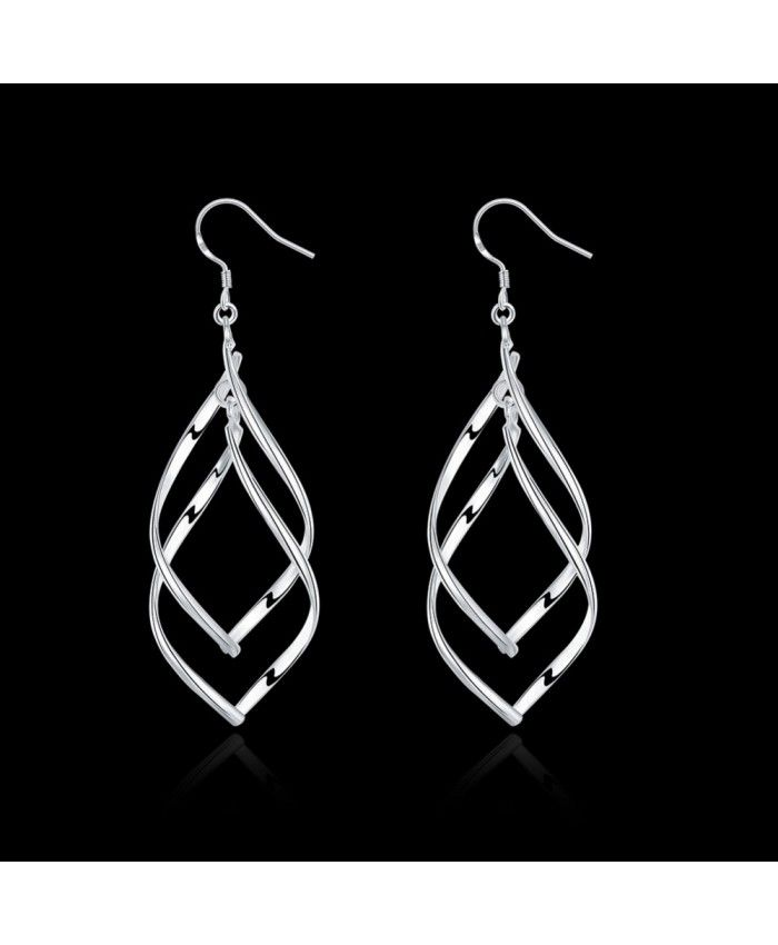 Elegant 925 Silver Plated Double Buckle Earrings
