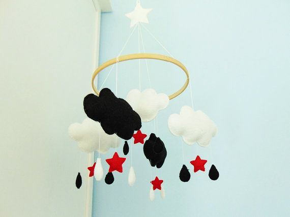 Baby Moblie  cloud  black red white newborn gif by SkandiDekor