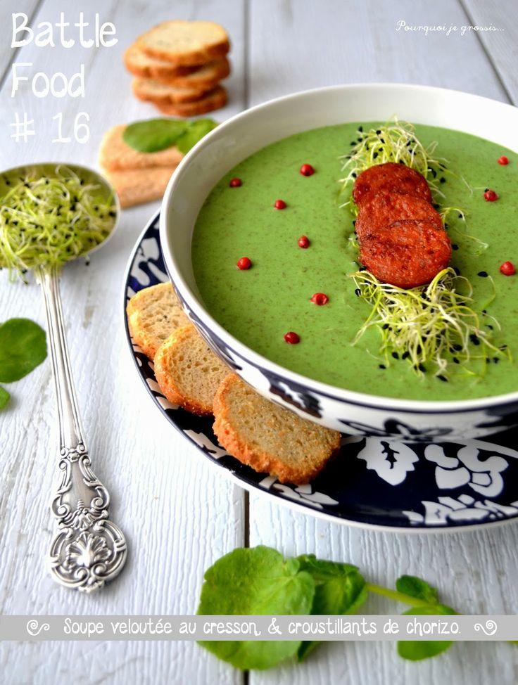 Pourquoi je grossis ...: Soupe veloutée au cresson & croustillants de chorizo.