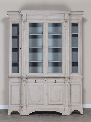 Antique French Painted Oak Bibliothèque Display Cabinet circa 1875